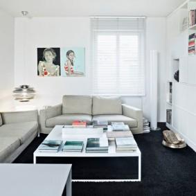 Контрастное оформление гостиной в черном и белом цвете