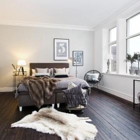 Дощатый пол в комнате скандинавского стиля