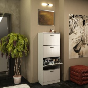Белый шкаф для обуви с глянцевыми фасадами