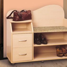 Тумба для хранения обуви с мягким сидением