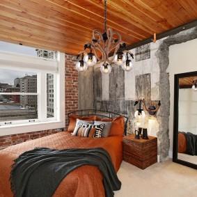 Дизайн спальни в квартире с вагонкой на потолке