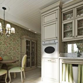 Потолок из вагонки в кухне неоклассического стиля