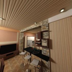 Вагонка с фрезеровкой на потолке квартиры