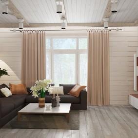 Угловой диван на деревянном полу