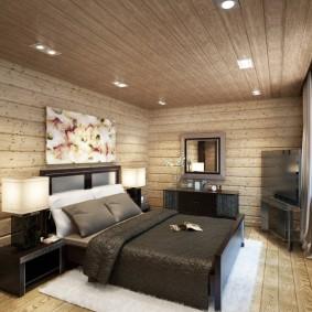 Встроенные светильники на потолке спальни