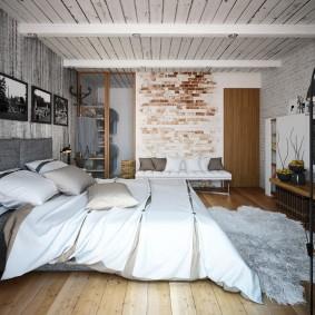 Оформление интерьера спальни с деревянным потолком