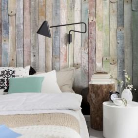 Старые доски в спальне эко стиля