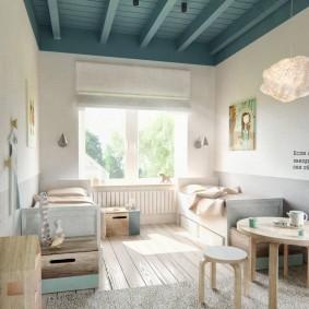 Детские кроватки в комнате с вагонкой на потолке