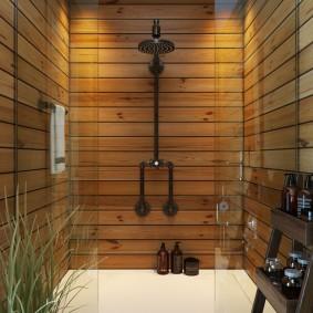Сосновая вагонка в интерьере ванной комнаты
