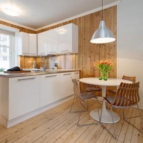 Вагонка в интерьере кухни-гостиной