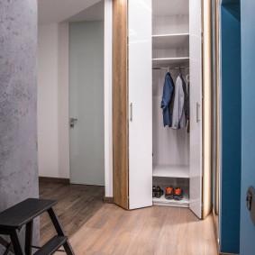 Складные дверцы на встроенном шкафу в прихожей