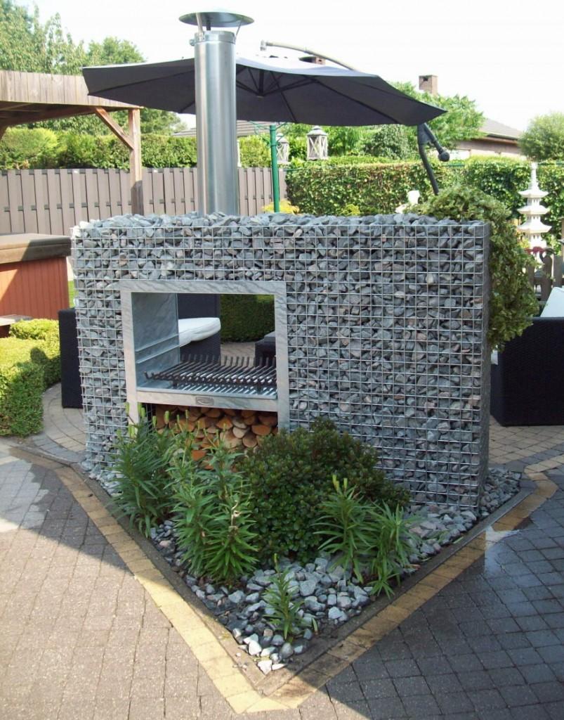 Использование габионов в мангальной зоне садового участка