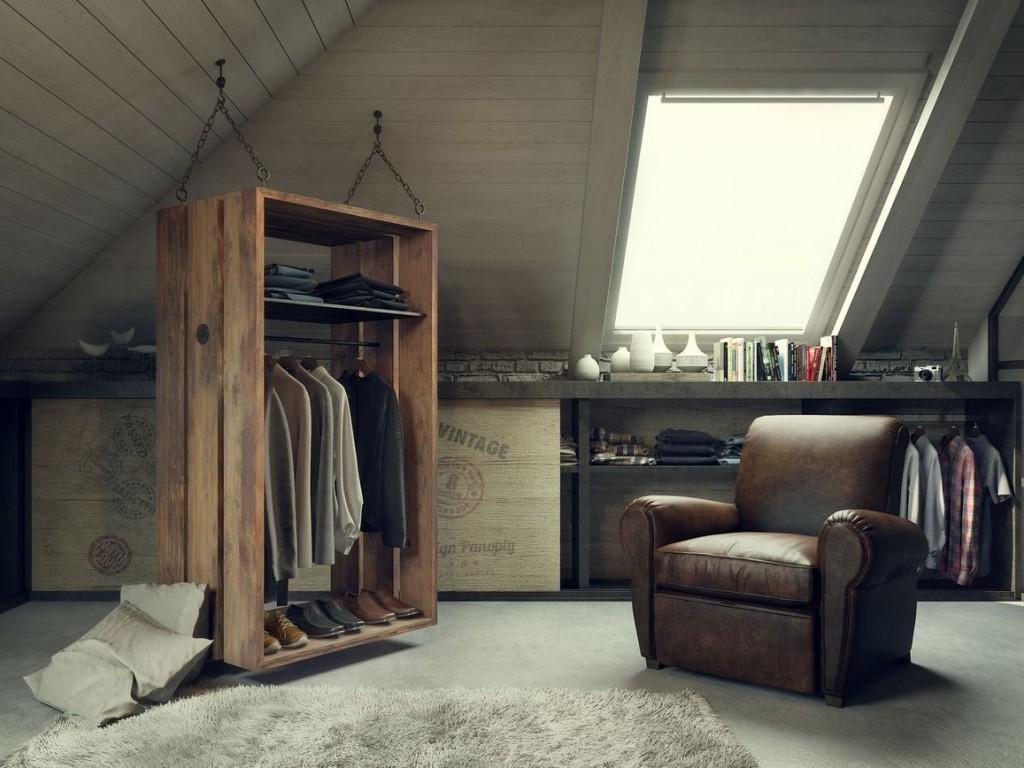 Кожаное кресло в гардеробной для мужчины