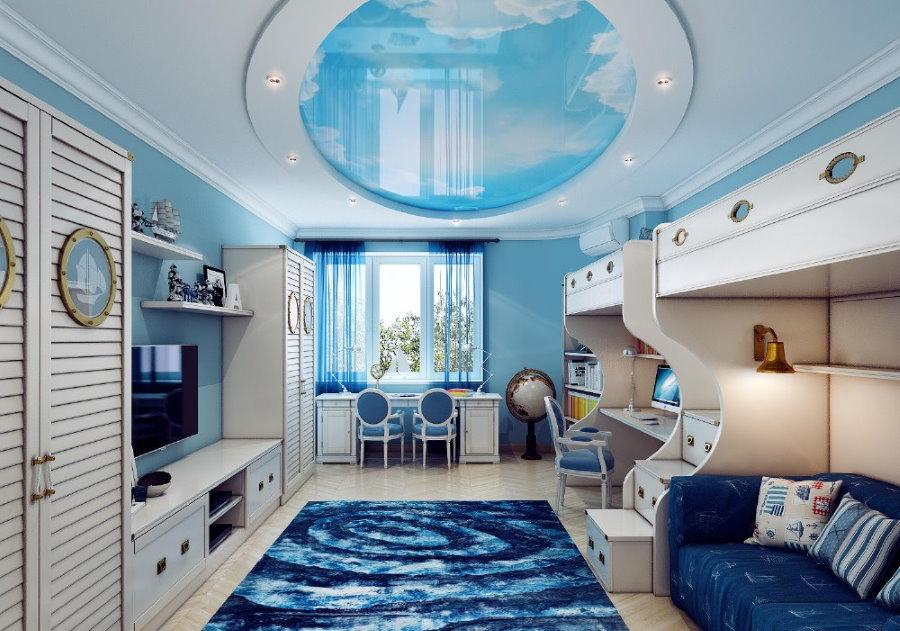 Голубой цвет в интерьере детской морской стилистики
