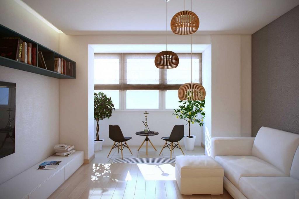 Белая мебель в светлой гостиной с балконом