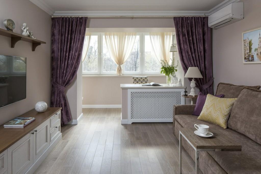 Плотные шторы между гостиной и утепленным балконом