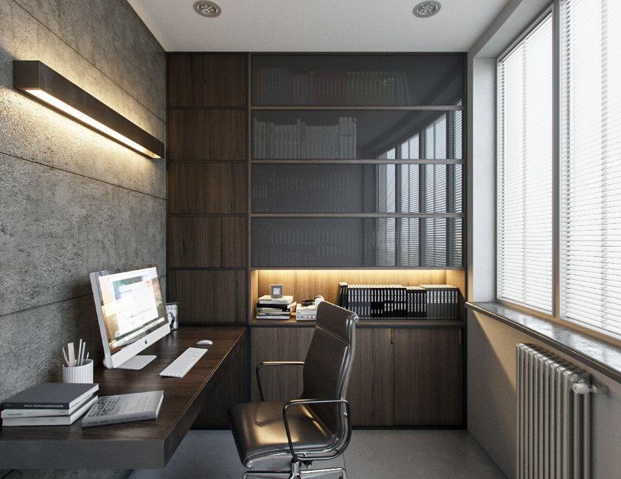 Рабочий кабинет на лоджии в стиле лофт