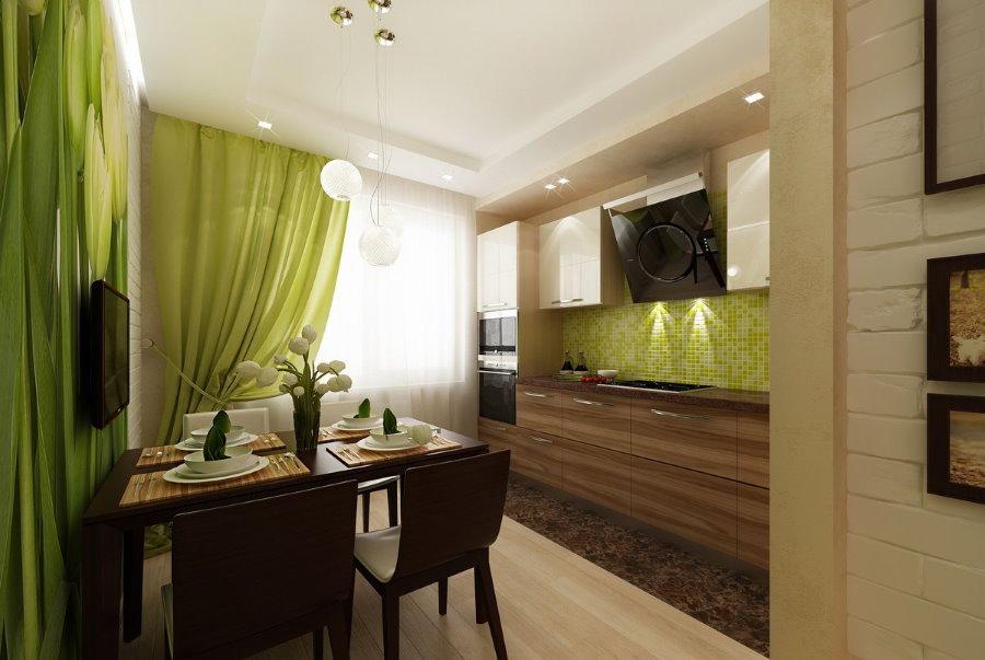 Светло-зеленые шторы на кухне с коричневым столом
