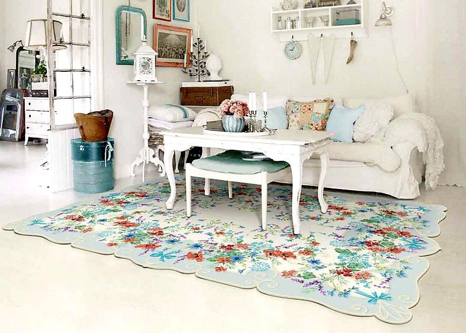 Красивая гостиная с ковром в прованском стиле