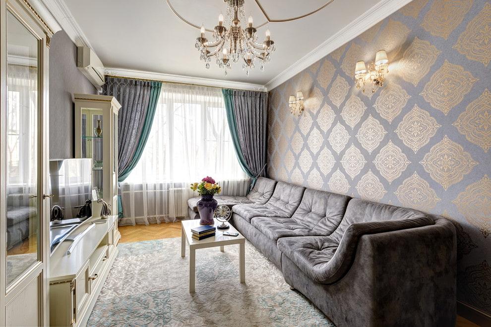 Удачная планировка прямоугольной гостиной