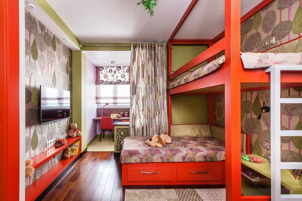 Красная двухъярусная кровать с письменным столом