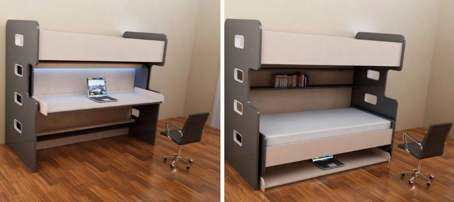 Пример трансформации спального места в рабочий стол