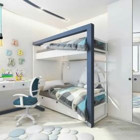 Двухэтажная кровать в детской комнате стиля хай-тек