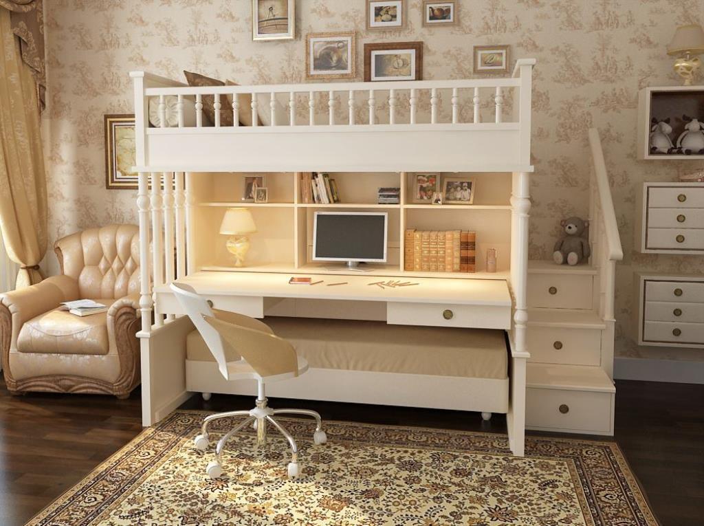 Белая двухъярусная кровать с широким столом