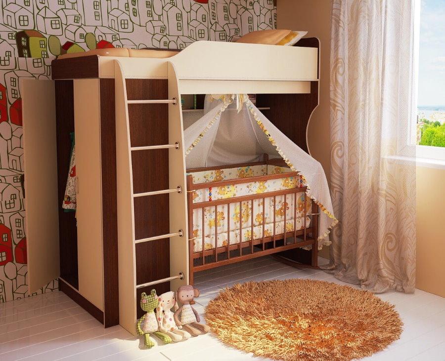 Кровать-чердак с колыбелью для младенца