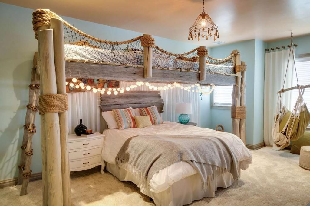 Деревянная кровать-чердак в морском стиле