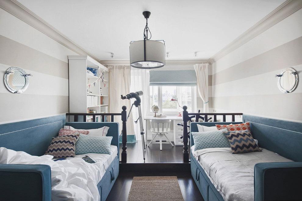 Дизайн комнаты в морском стиле для двоих мальчиков