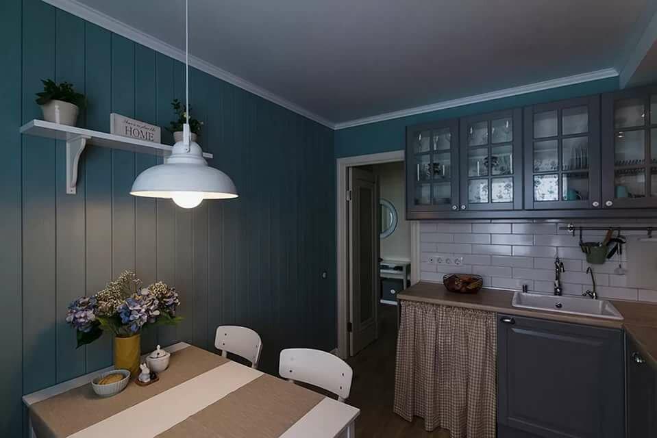 Окраска вагонки на кухне с угловым гарнитуром