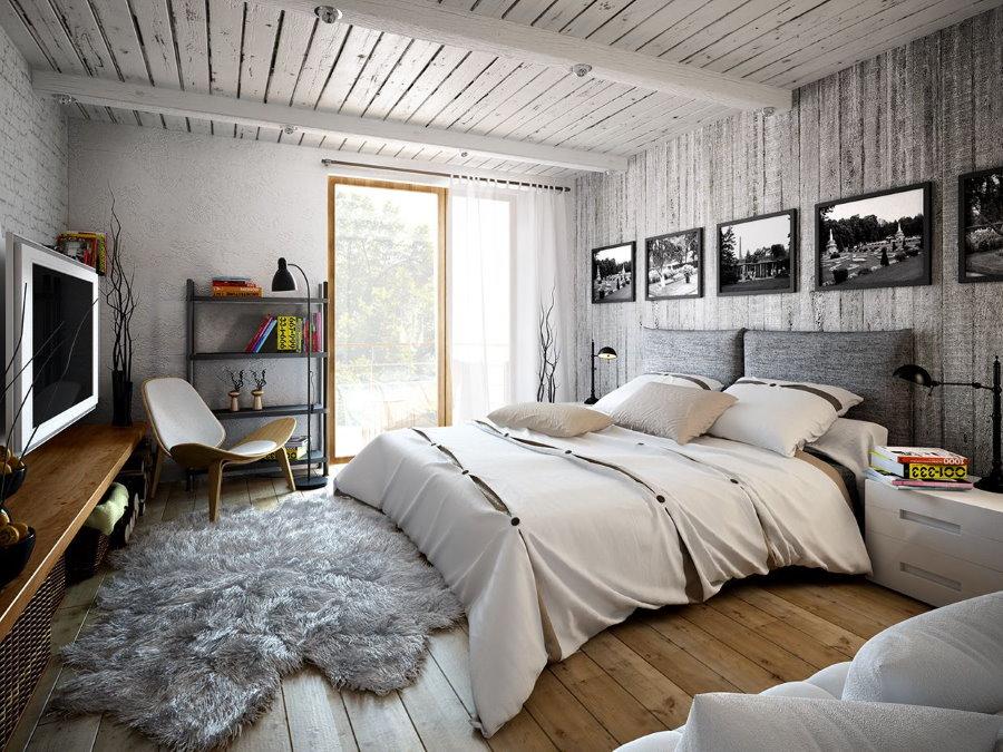 Серые поверхности в интерьере спальни