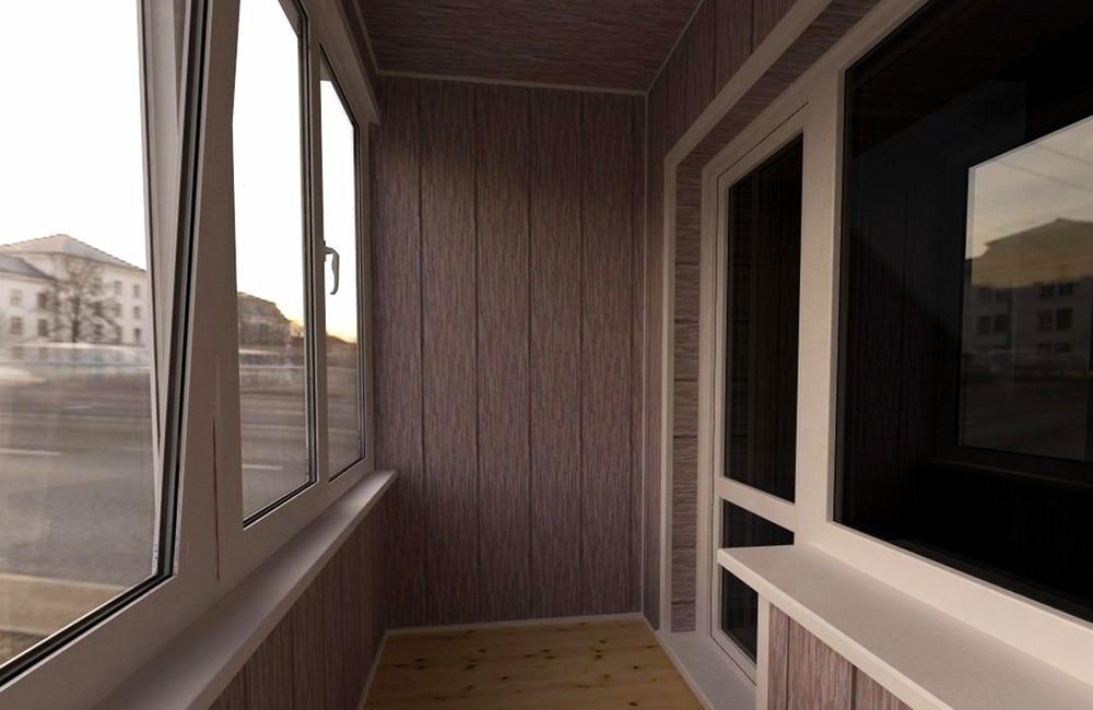 Отделка панелями МДФ теплого балкона
