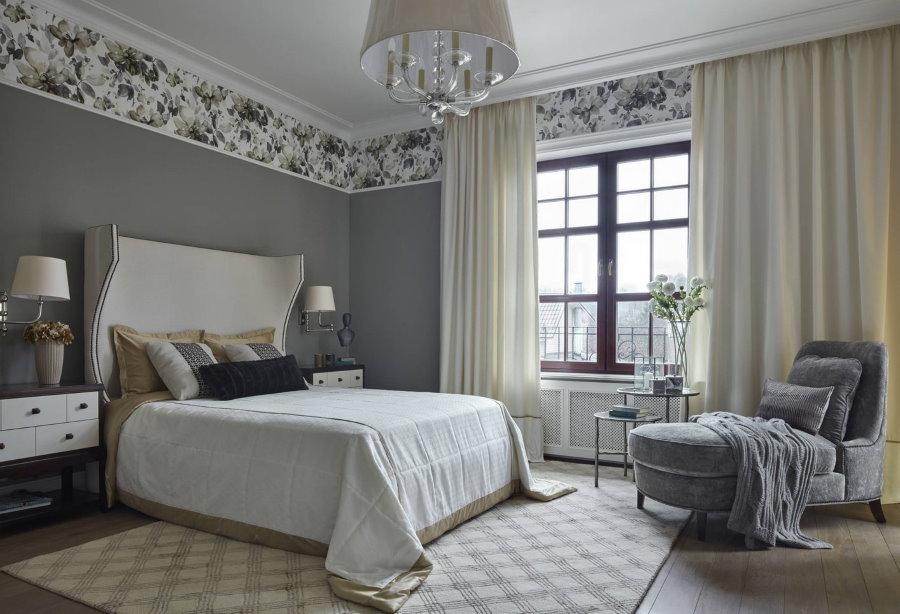 Меблировка спальни с серыми стенами