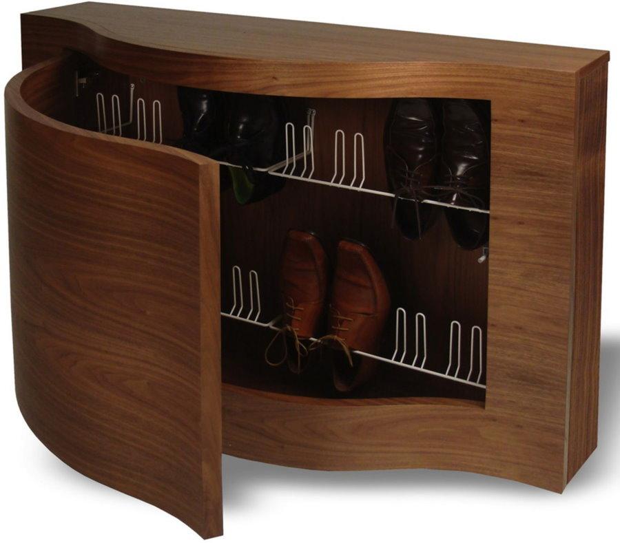 Деревянная обувница для прихожей комнаты в стиле модерн