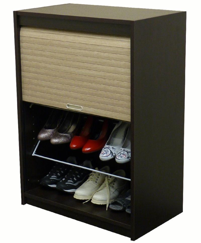 Закрытая обувница с жалюзи для современной прихожей