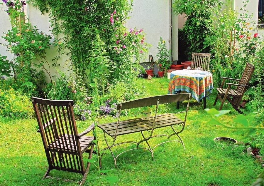 Садовая мебель на газоне обыкновенном