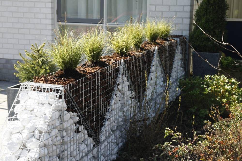Ограда из габионов с клумбами в верхней части