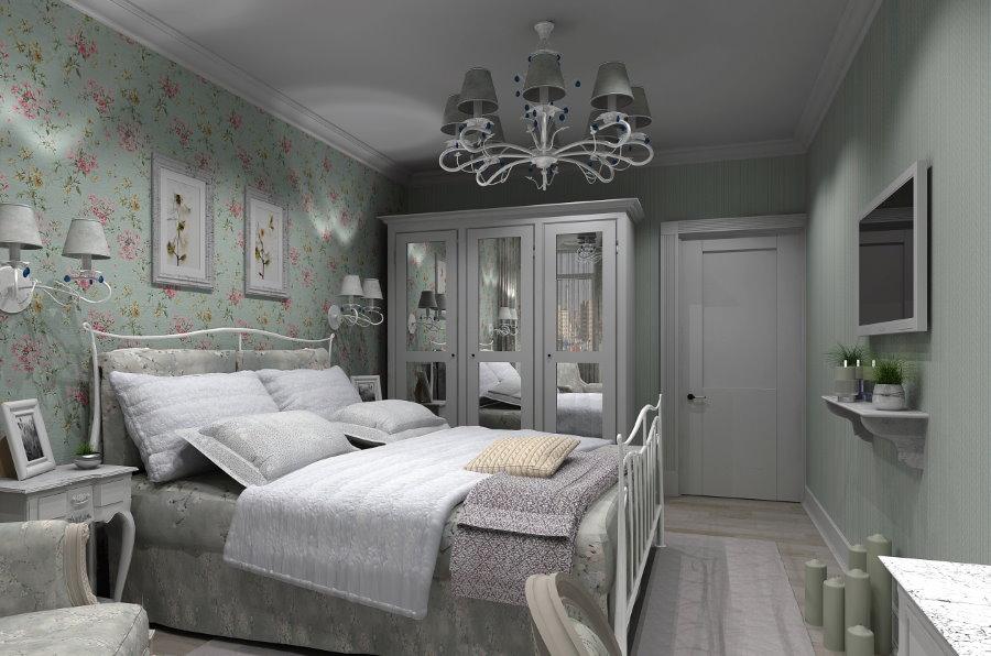 Уютная спальня в стиле прованс с крашенными стенами
