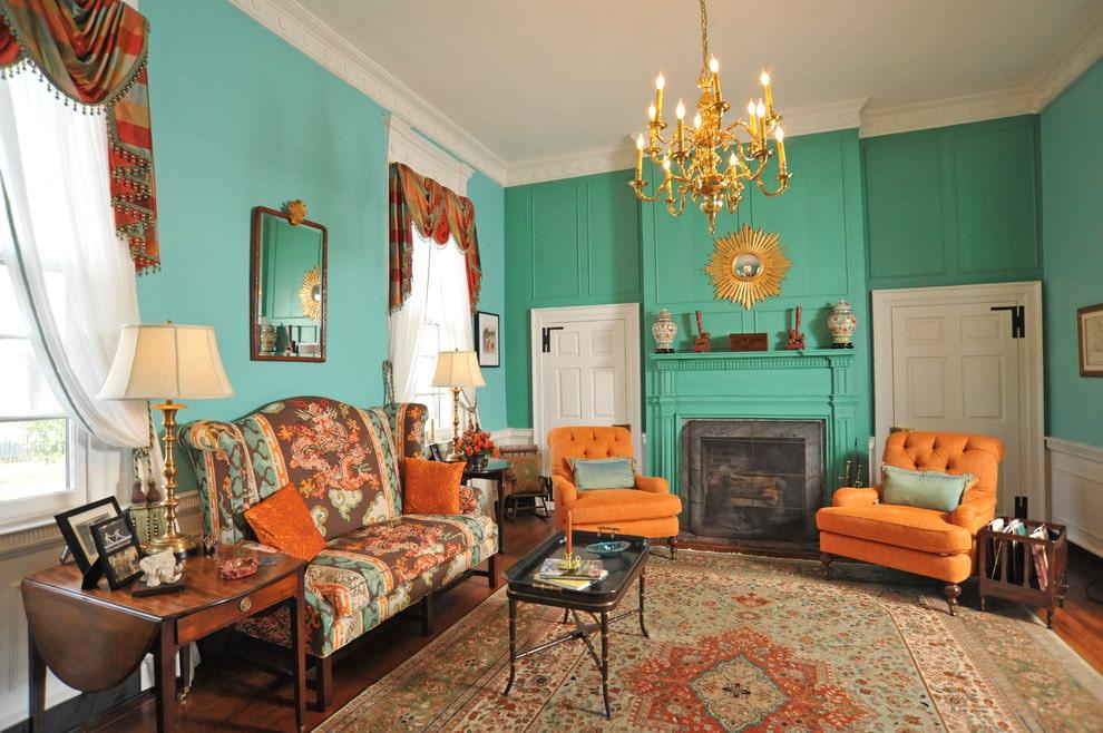 Оранжевые кресла в гостиной комнате
