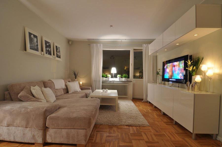 Интерьер гостиной комнаты в бежевых тонах