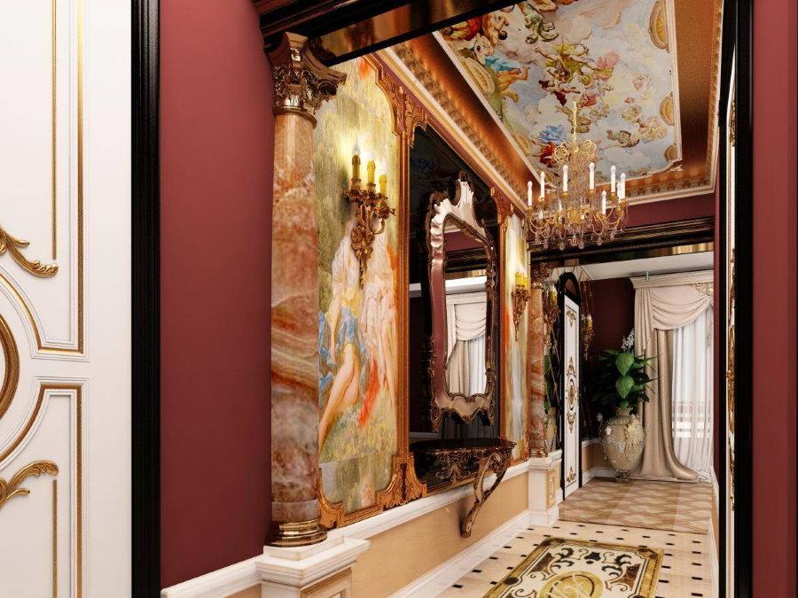 Отделка узкого коридора в стиле барокко