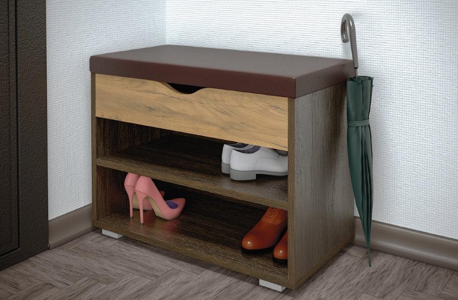 Открытая обувница из ДСП с мягким сидением