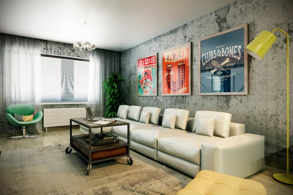 Постеры на стене гостиной комнаты в стиле лофт