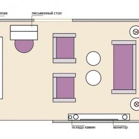 План расстановки мебели в гостиной площадью 15 кв м