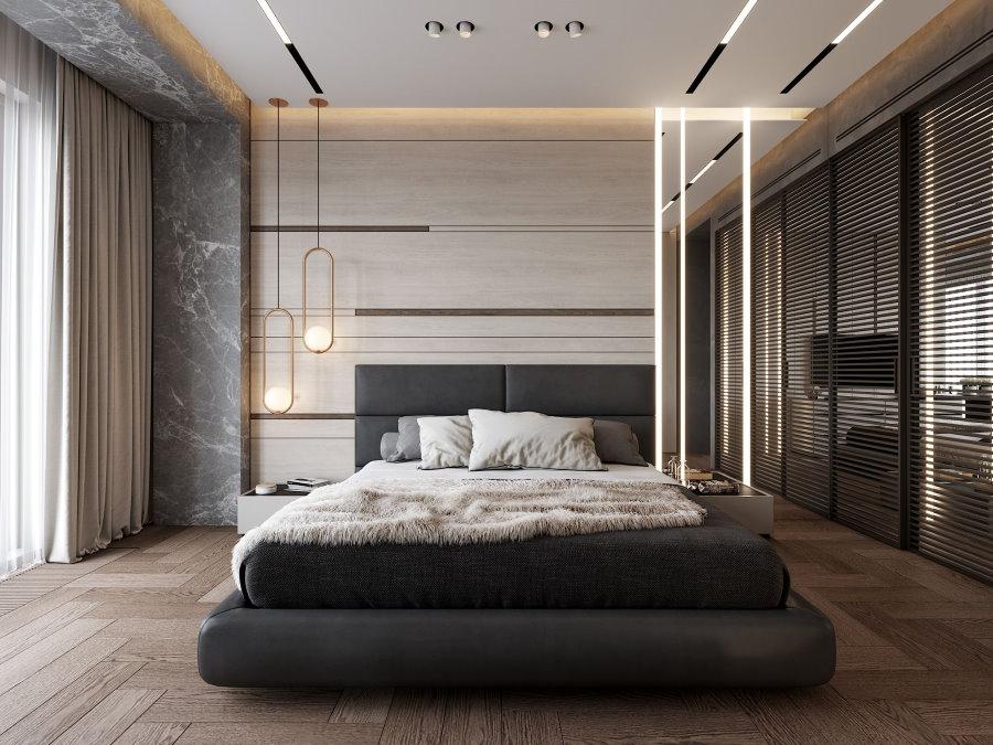 Ламинированный пол в спальной комнате