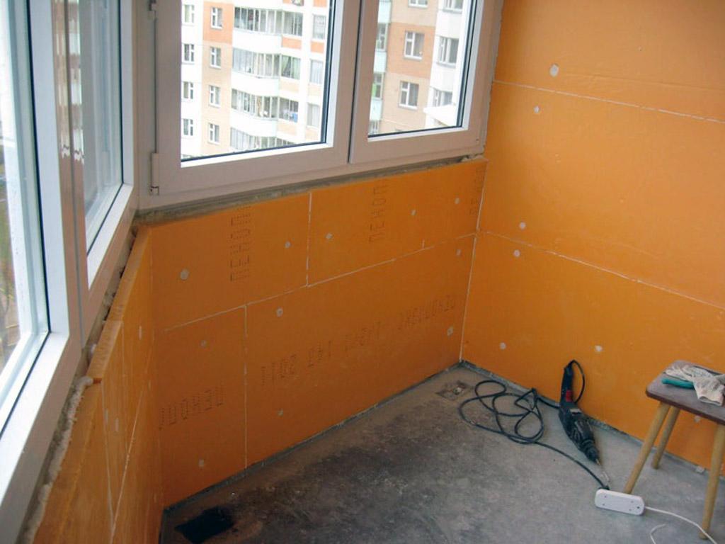 Утепление стен лоджии пенополистиролом на клей