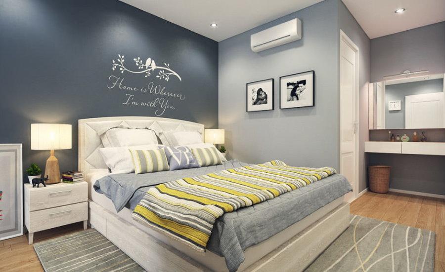 Окраска стен спальни в серые оттенки