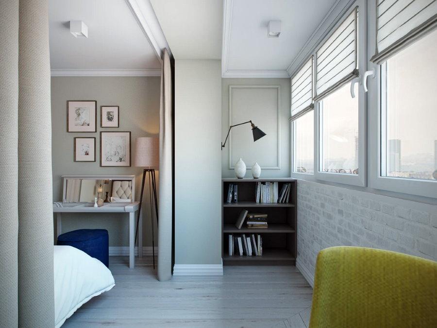 Дизайн балкона после объединения со спальней